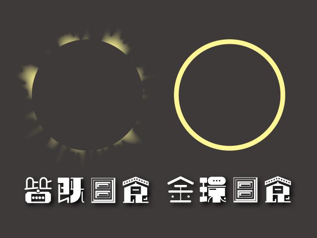 皆既日食と金環日食のイラスト